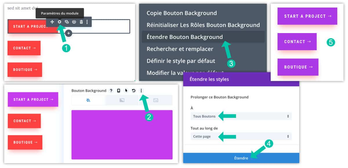 Étendre les style dans le Visual Builder