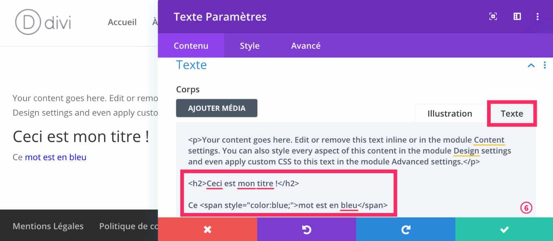Code CSS HTML Module Texte