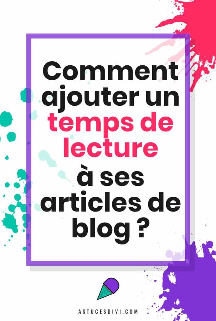 Ajouter Temps De Lecture Article WordPress