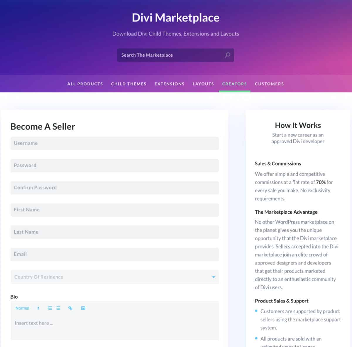 Divi Marketplace Devenir Createur