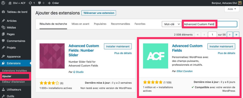 Extension ACF - Advanced Custom Field