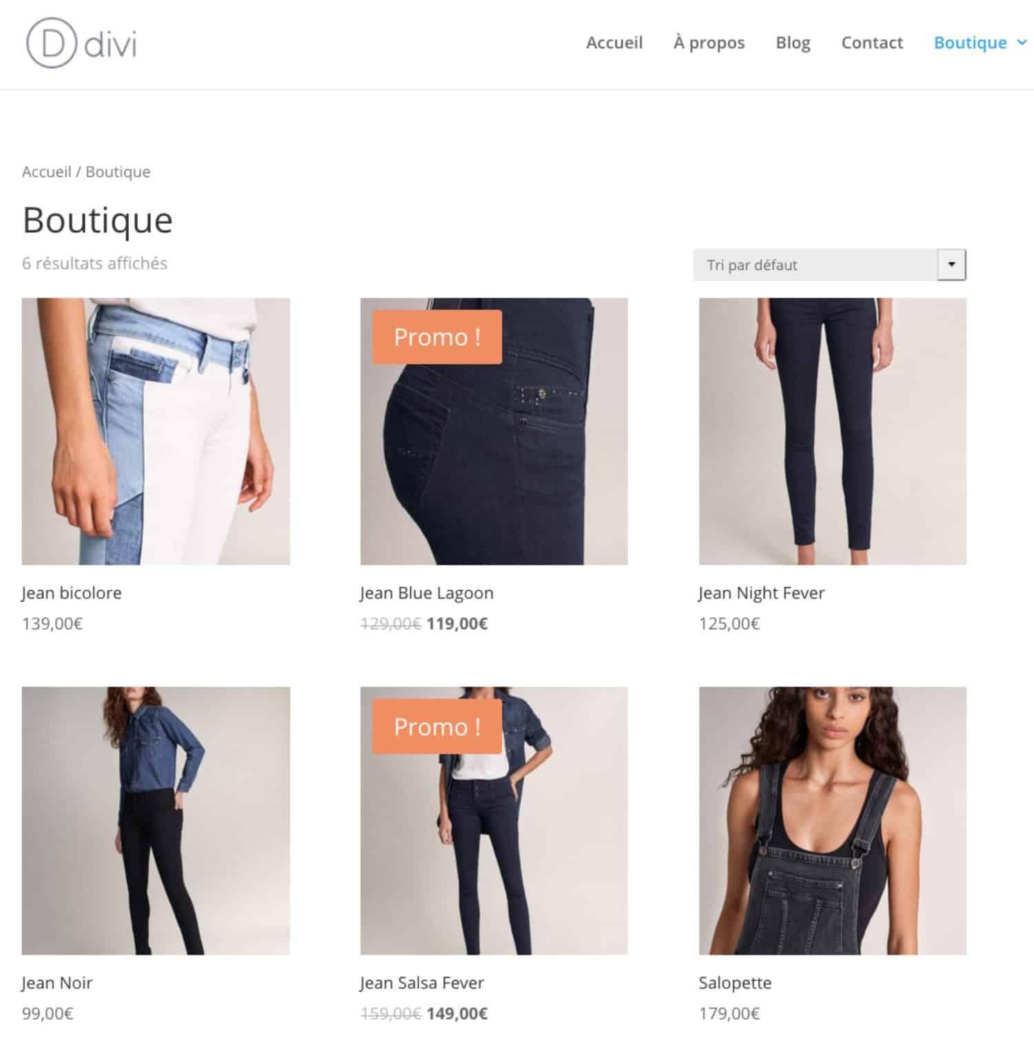 Boutique WooCommerce Basique