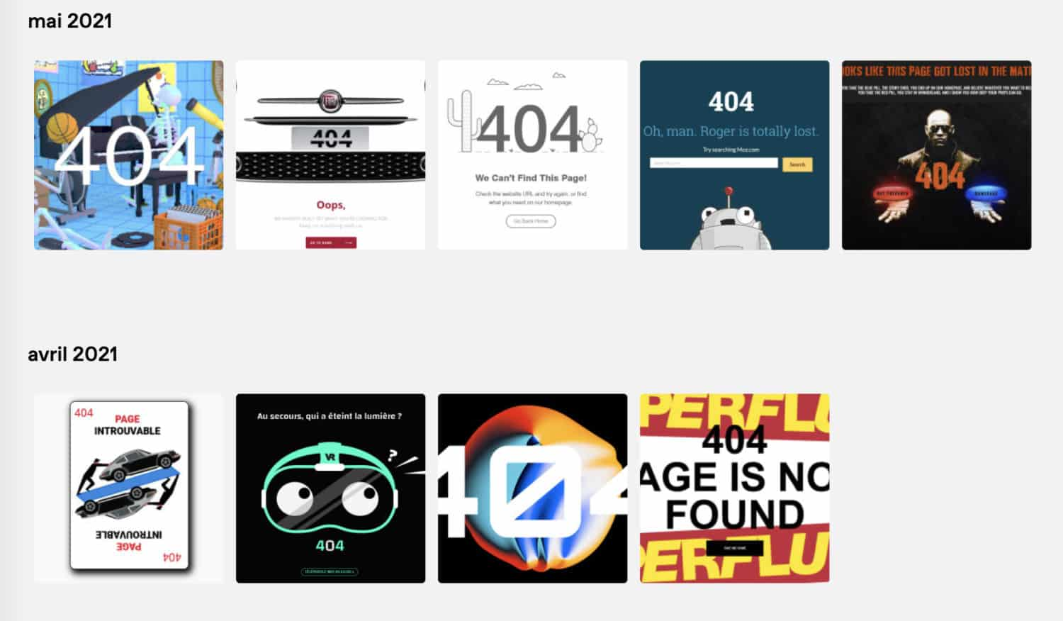 Inspirations page erreur 404
