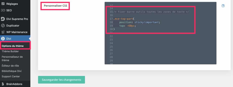 Personnaliser le CSS de la toolbar